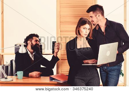 Woman Working In Mostly Male Workplace. Woman Attractive Lady Working With Men. Office Collective Co