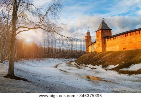 Veliky Novgorod Kremlin Towers At Early Spring Sunset In Veliky Novgorod, Russia, Panoramic View, Hd