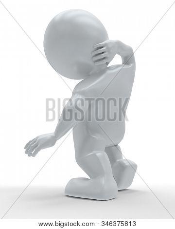 3D Render of Morph Man holding body in pain