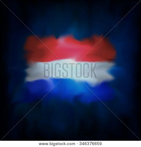 Abstract Flag Of The Netherlands On Dark Blue Sky Background For Creative Design. Netherlands Flag B