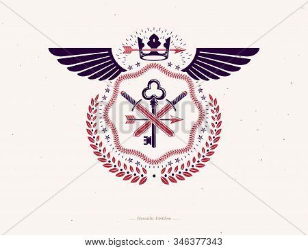 Vintage Heraldry Design Template With Bird Wings, Vector Emblem Created With Royal Crown And Armory.
