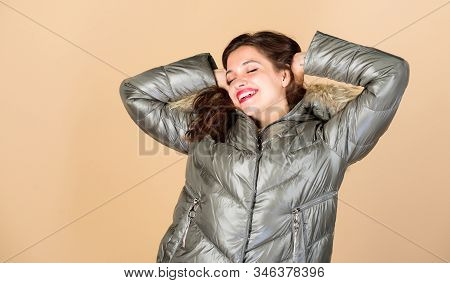 Enjoying Her Outfit. Pretty Girl Wear Fashion Outfit For Cold Weather. Be Stylish This Winter. Emoti
