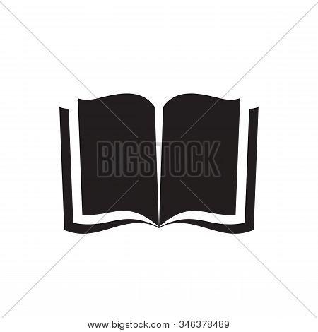 Book - Black Icon Design. Education Library Concept Sin. Open Book Icon Sign. Magazine With Paper Pa
