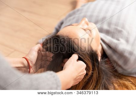 Special Therapy. Process Of Head Relax Massage. Woman Making Massage By Hands.