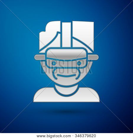Silver Virtual Reality Glasses Icon Isolated On Blue Background. Stereoscopic 3d Vr Mask. Vector Ill