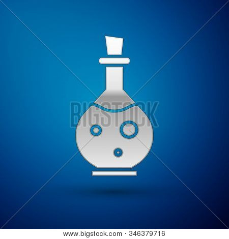 Silver Glass Bottle With Magic Elixir Icon Isolated On Blue Background. Computer Game Asset. Vector