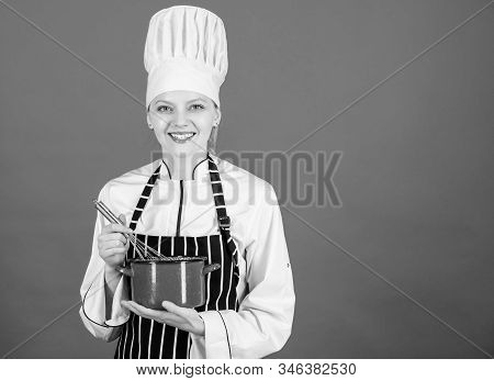 Best Whipping Techniques. Woman Chef Hold Whisk And Pot. Whipping Like Professional. Girl Whipping E