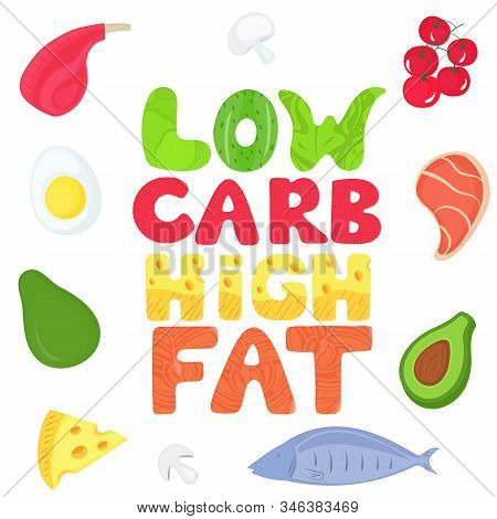 Keto Poster With Text From Food. Ketogenic Diet Concept. Healthy Menu. Low Carb, High Fat. Salmon, A