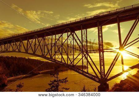 Deception Pass Bridge Between Whidbey Island And Fidalgo Island, Pacific Northwest, Washigton, Usa