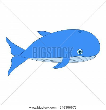 Vector Illustration Whale. Blue Whale. Cartoon Vector. Isolated On White. Background Blue Whale.