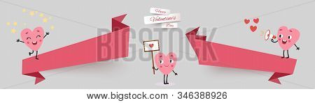 Valentines Day Sale Banners, Set Paper Cut Ribbon With Funny Characters Animated Hearts. Collection