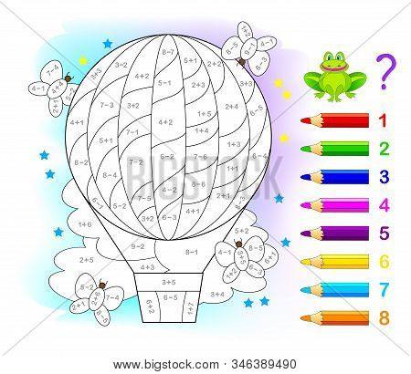 Math Education For Children. Coloring Book. Mathematical Exercises On Addition And Subtraction. Solv