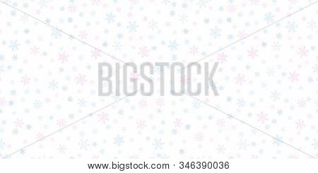 Snowflakes Seamless Background. Subtle Vector Pattern With Small Hand Drawn Colored Snowflakes On Wh