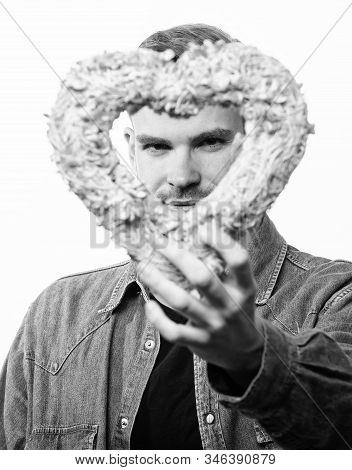 All My Love Is For You. Unshaved Man Isolated On White. Man With Decorative Heart. Date. Romantic Gr