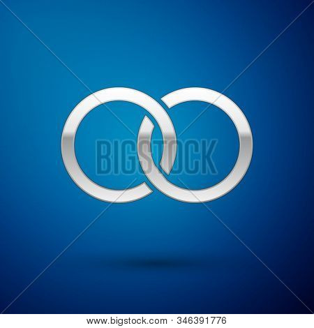 Silver Wedding Rings Icon Isolated On Blue Background. Bride And Groom Jewelery Sign. Marriage Icon.