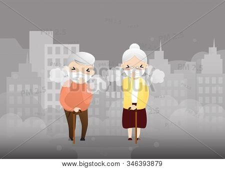Old Man Cough With Dirty Lung Because Air Pollution Pm2.5 Air Poll.  Smoke, Smog, Respiratory, Envir