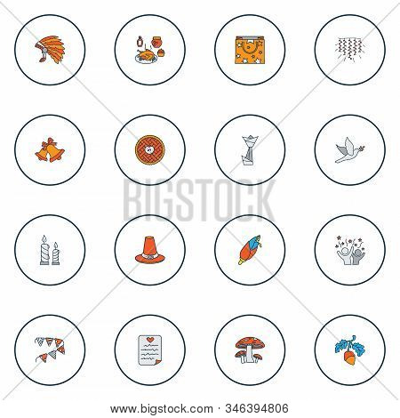Thanksgiving Icons Colored Line Set With Origami, Mushroom, Thanksgiving Dinner And Other Maize Elem