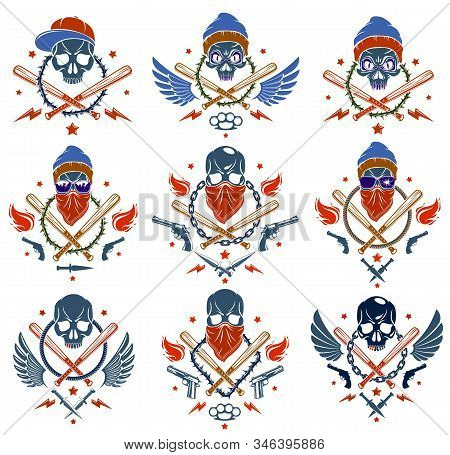 Gangster Emblem Logo Or Tattoo With Aggressive Skull Baseball Bats And Other Weapons And Design Elem