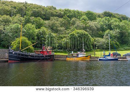 Old Ships Docked At Crinan Canal. Hystoric Ships Exposition. Scotland
