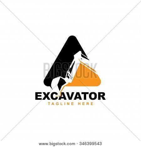 Excavator Logo Design Illustration Vector Template.backhoe Symbol