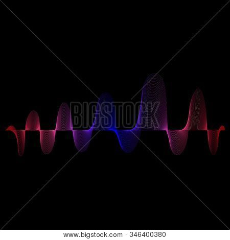 Sound And Music Color Wave. Digital Equalizer Volume. Abstract Radio Background. Audio Speaking Wave
