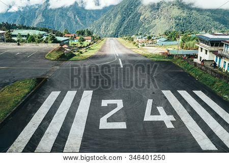 Runway No 24 Of World's Most Dangerous Airport In Lukla,nepal. Tenzing–hillary Airport At Altitude 2