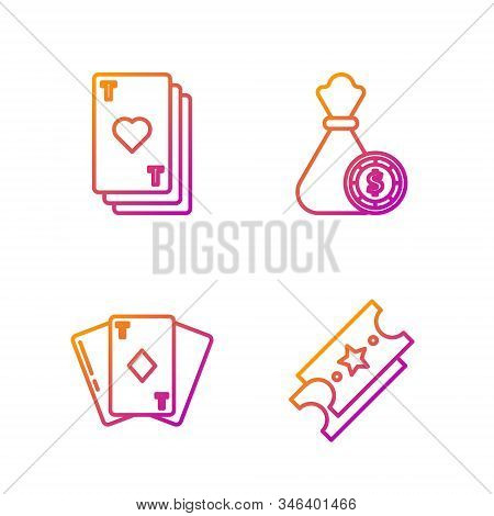 Set Line Lottery Ticket, Playing Card With Diamonds, Playing Card With Heart And Money Bag And Casin