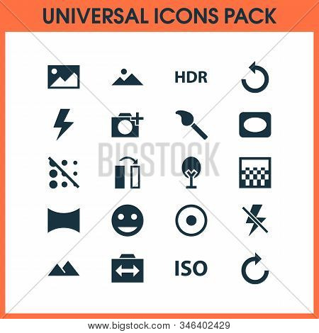 Photo Icons Set With Circle, Hdr, Switch Cam And Other Rotate Left Elements. Isolated Illustration P