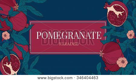Vector Gorizontal Banners With With Pomegranate Fruits On Blue Background. Floral Design For Cosmeti