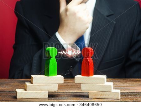 A Businessman Is Studying Confrontation Of Opponents, Rivalry Parties. Truce Agreement. Resolution D