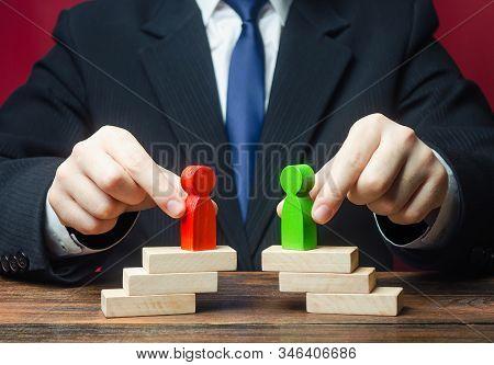 Mediator Organizes A Meeting Negotiations Between Parties Side Conflict. Establishing Contact. Civil