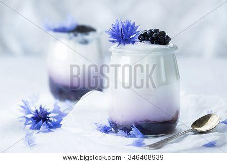 Yoghurt With Blackberries . Yoghurt With Flower. Yoghurt With Cornflower