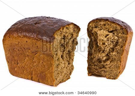 poster of the broken loaf of rye bread on a white background
