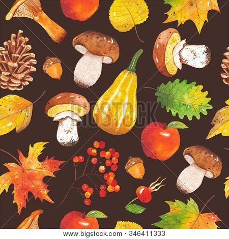 Seamless Autumn Bright, Colorful Pattern Of Leaves, Mushrooms, Acorns, Cones, Pumpkins, Apple, Rowan