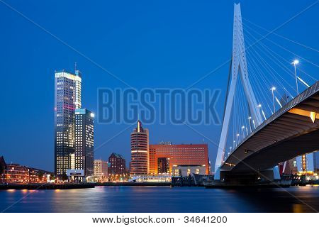 Night Erasmus Bridge In Rotterdam