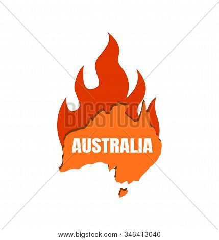 Continent Australia On Fire. Map Of Australia With Fire Flame, Fire On The Continent