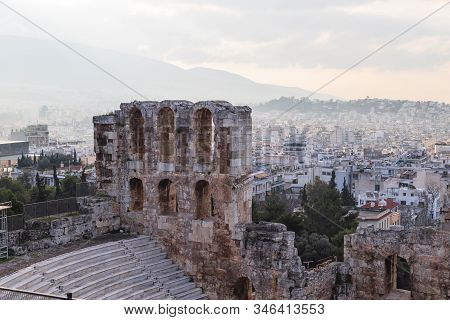 Odeon Of Herodes Atticus, Acropolis, Athens, Greece. The Odeon Of Herodes Atticus Is A Stone Theatre