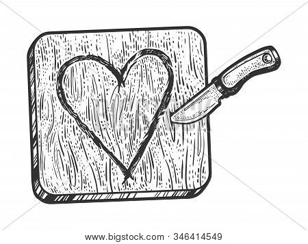 Heart Symbol Carved With Knife In Wood Sketch Engraving Vector Illustration. Romantic Love Lovesickn