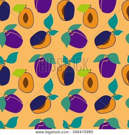 Seamless Pattern With Plums And Green Leaves On A Yellow Background. Sliced Plum. Flesh Plums. Vecto
