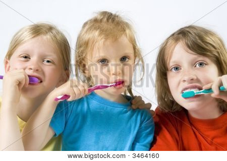 Children Brushing Teeth