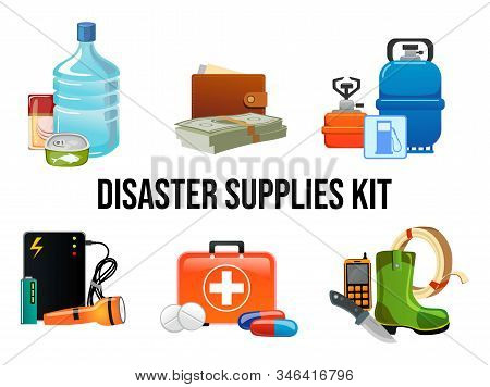 Disaster Supplies Kit Set In Cartoon Style