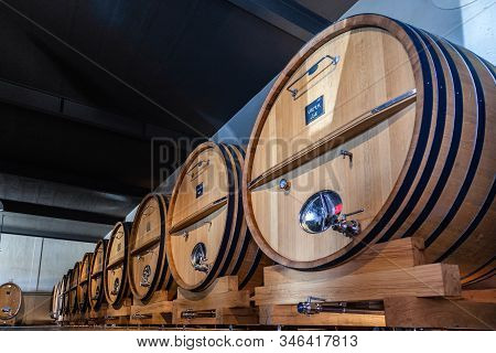 France Lyon 2019-06-21 Rows Giant Wooden Barrels, Aging, Fermentation, Storage In Brocard Wine Cella