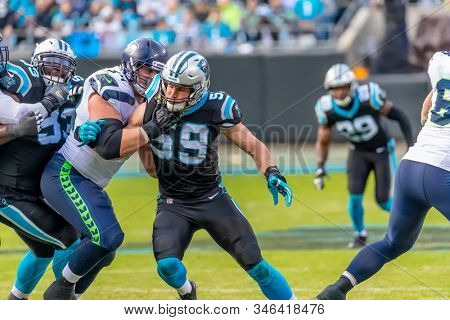 November 25, 2018 - Luke KUECHLY (59) plays against the visiting Seattle Seahawks at Bank Of America Stadium in Charlotte, NC.  The Panthers lose to the Seahawks, 30-27.
