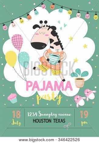 Pajama Sleepover Kids Party Invitation Card Or Poster Template With A Funny Giraffe In Pajamas And B