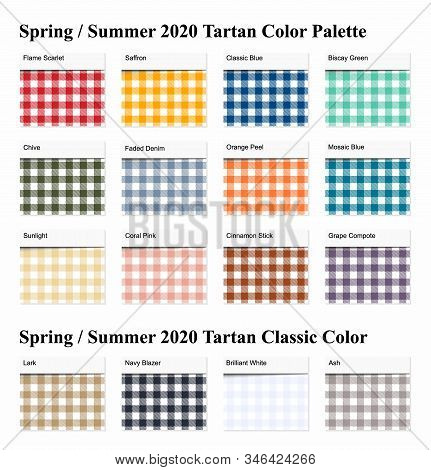 Spring / Summer 2020 Tartan  Seamless Pattern  Palette Example. Future Plaid  Color Trend Tiles Fore