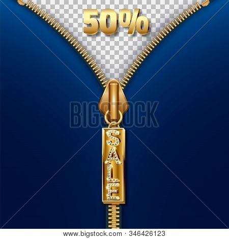 Sale Banner - Clearance Discounts. Zipper Clasp With Pendant And The Word Sale Made Of Precious Ston