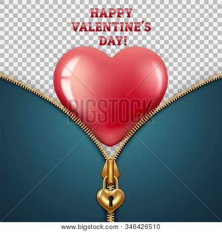 Greeting Card For Valentine S Day February 14th. Zipper Clasp In The Shape Of A Lock With A Keyhole,