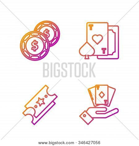 Set Line Hand Holding Deck Of Playing Cards, Lottery Ticket, Casino Chip With Dollar And Playing Car