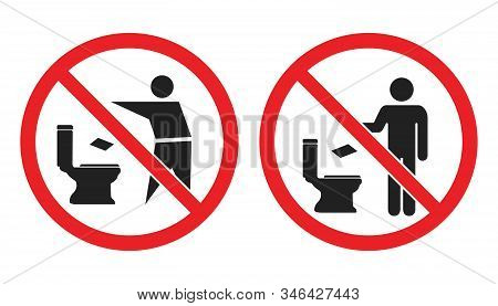 No Toilet Littering Sign, Do Not Throw Paper Towels In Toilet Icons