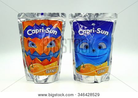 Zaandam, The Netherlands - October 27, 2019: Packages Of Capri Sun, A Brand Of Juice Concentrate Dri